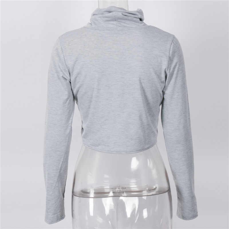 새로운 패션 streetwear 여자 거북이 목 자르기 숙녀 긴 소매 일반 짧은 스트레치 탑 여성 스웨터 플러스 크기