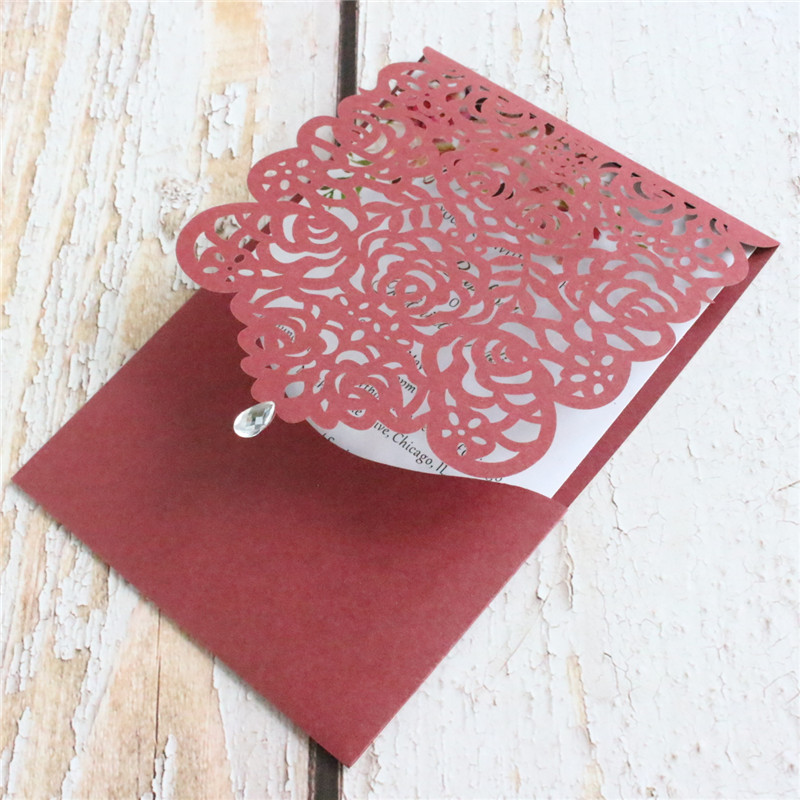 Burgundy wedding card invitation rustic rose bridal invite pocket customized design printing 50pcs in Cards Invitations from Home Garden