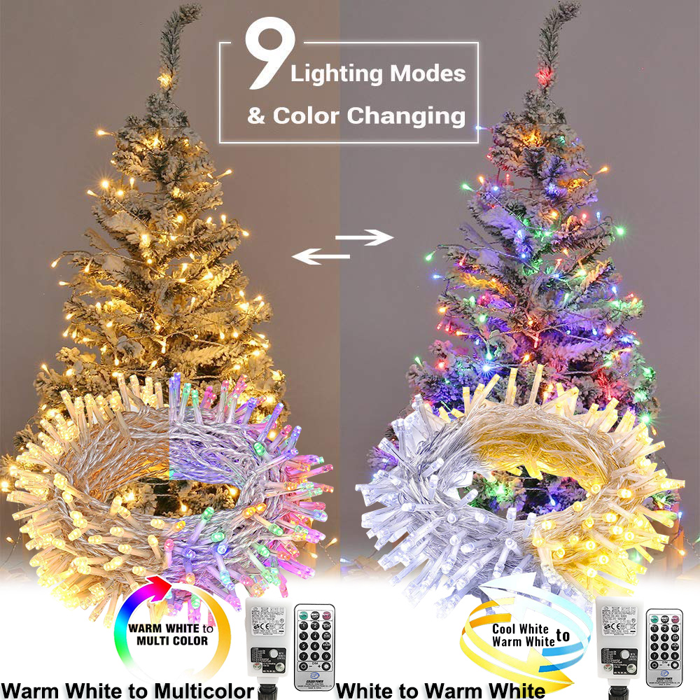 50 100M Christma Light Outdoor Waterproof LED String Light Color Changing Fairy Lights Memory Function Timer Tree Decoration D20
