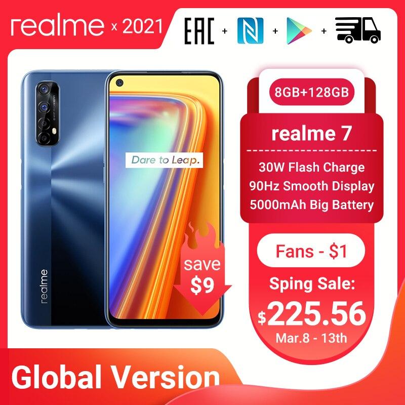 Realme 7 versão global smartphones 8gb ram 128gb rom 30w carga rápida 48mp quad câmeras helio g95 5000mah bateria telefone de jogos