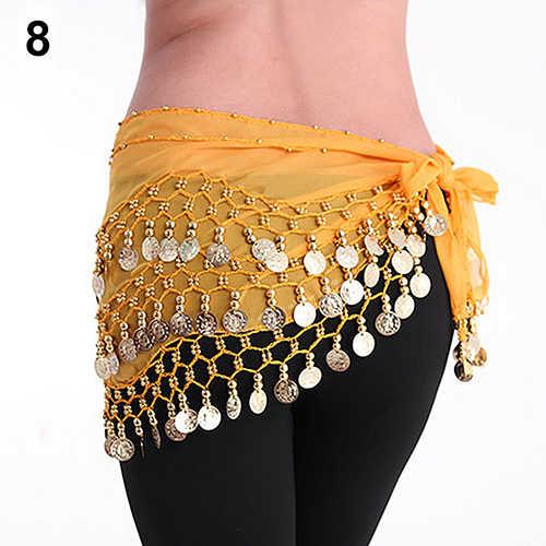 Chiffon Belly Dance Waistband Hip Scarf Skirt Dangling Golden Tone Alloy Coins Belt