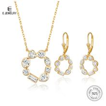 цены E Jewelry 925 Sterling Silver Pendant Necklace Earrings Set for Women 18K Gold Plated Cubic Zirconia Jewelry Sets Fashion Gift