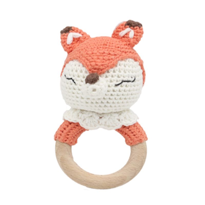 Crochet Wooden Ring Teether Animal Rattle Chewing Teething Nursing Soother Molar Infant Toy Accessories Relieve Baby's Itchy Gum