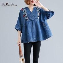 BelineRosa Autumn Style Denim Poncho Elegant Ladies Embroidery V-Neck Plus Size Women Cape Cloak DBFS0055 цена