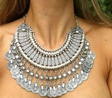 цена на Bohemian Ethnic Antalya Yonca tassel necklace Color Turkish Gypsy Boho Coachella Beach Choker Bib Coin Necklace for Women