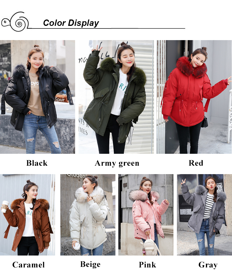 Korean Style 2019 Winter Jacket Women Cotton Padded Hooded With Fur Fe_A1_2