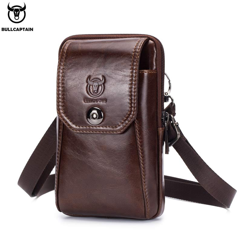 BULLCAPTAIN Genuine Leather Men's Waist Packs Phone Pouch Bags Waist Bag Male Small Chest Shoulder Belt Bag Small Waist Packs