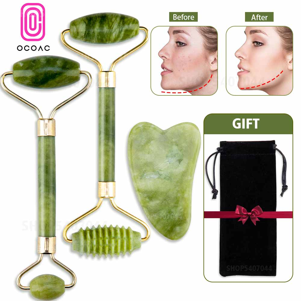 Massager For Face Jade Roller Facial Skin Care Tools Natural  Gouache Scraper Body Back Beauty Slimming Massagers Roller Set 1