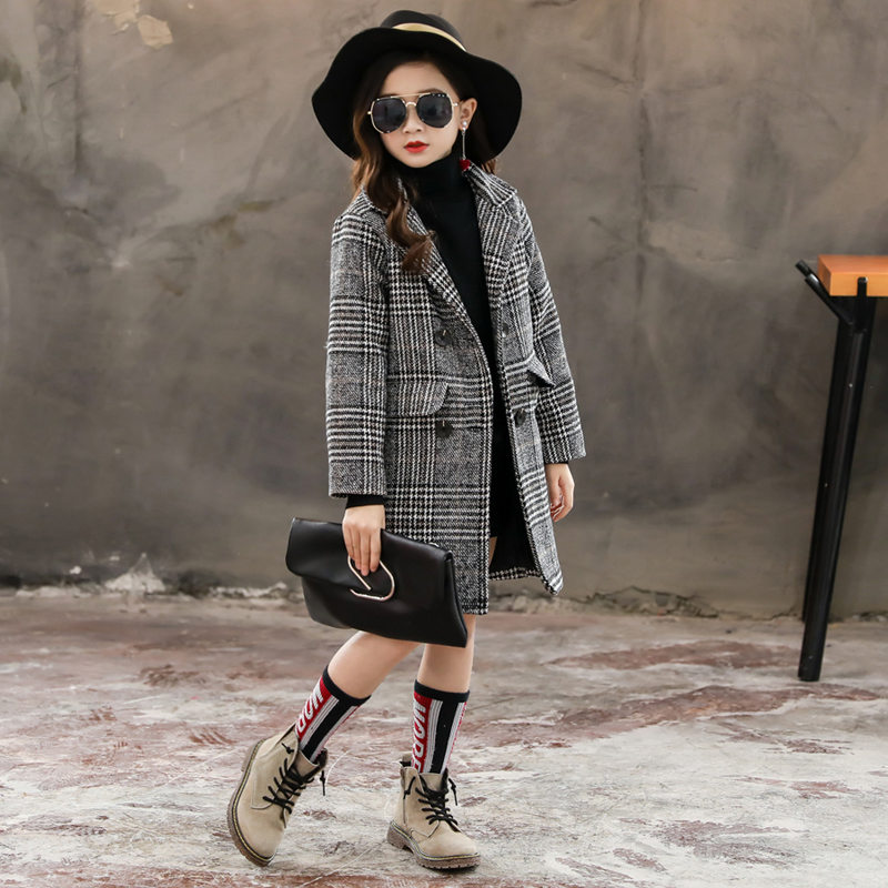2020 Girls Autumn Fashion Plaid Woolen Coat Hooded Jacket Winter Warm Overcoat Teens Girls Houndstooth Wool Coat For Girls
