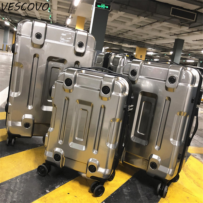 VESCOVO Luxury Rolling Luggage Spinner Trolley Travel Suitcases 20inch Men Women Boarding Bag 24