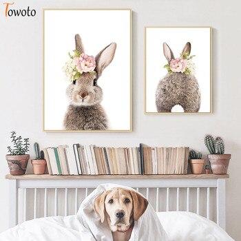 Póster para niños con estampado de flores de conejo y cola de conejo, lienzo para bebé, pintura para guardería, arte para pared minimalista de princesa, decoración para pared de habitación