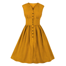 цены на Vintage 70s Rockabilly Dress Polka Dot High Waist Dress Sleeveless Button Tight Waist Midi Dress Elegant Women Slim A-line Dress  в интернет-магазинах