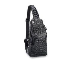 цена на hujingsha Thai crocodile skin men's bag leather leisure sports large capacity men's bag crocodile skin cross-body bag chest bag
