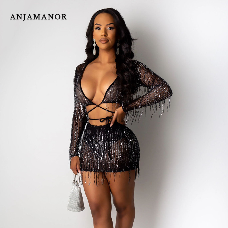 ANJAMANOR Sexy Fall 2 Piece Sets Womens Night Club Outfits Sequins Tassel Beaded Sheer Mesh Black Two Piece Skirt Set D57-AG29