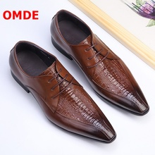 OMDE Genuine Leather Crocodile Pattern Pointed Toe Men Dress Shoes Business Formal Shoes Lace-up Office Wedding Mens Shoes 2017 new black red mens oxfords crocodile pattern slip on pointed toe genuine leather business formal men wedding shoes