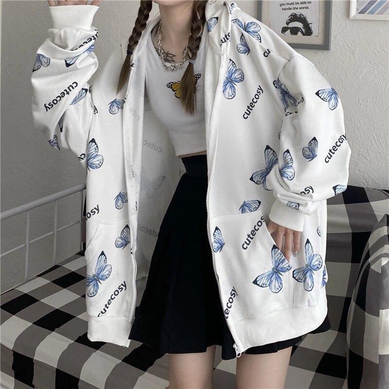 Летние Harajuku худи с бабочкой с застежкой-молнией Женская толстовка 2021 Весна Размеры d толстовки Верхняя одежда размера плюс Размеры