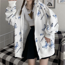 Verão harajuku borboleta hoodie com zíper moletom feminino 2021 primavera oversized hoodies outerwear plus size