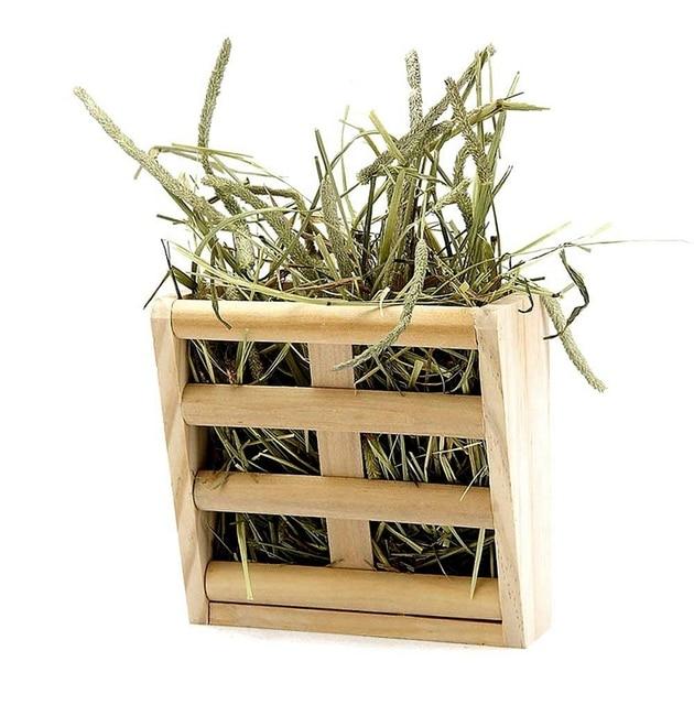 Small Animals Cage Accessories- Rabbit Hay Feeder Rack,Natural Wooden Hay Manger, Hamster Gerbil Rat Lookout Platform Sport Play 2