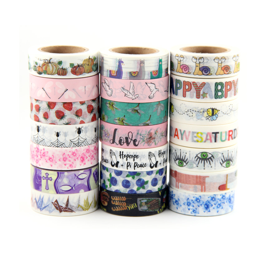 Top Sales Fresh Floral, Cute Animal Design Washi Tape Strawberry Sticky Adhesive Tape Various Patterns Masking Tape