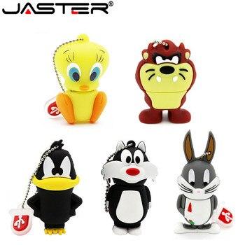 JASTER Cartoon 64GB Cute Crow Radish Rabbit Duck Lion Cat USB Flash Drive 4GB 8GB 16GB 32GB Pendrive USB 2.0 Usb Stick
