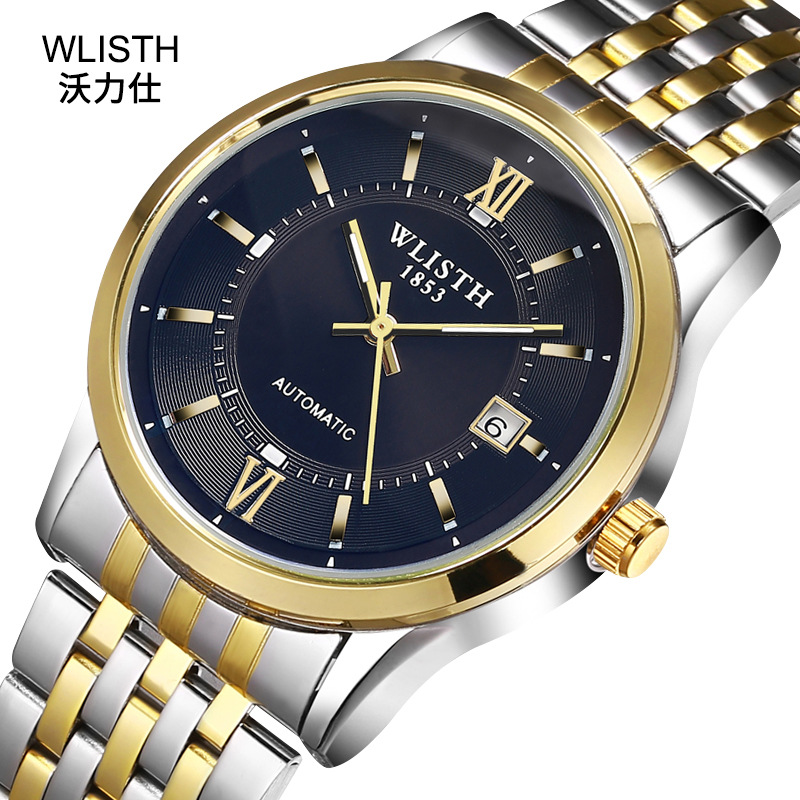 Watch Foreign Trade Steel Calendar Automatic Mechanical Watch Business Waterproof Watch Genuine Men's High-End Watch