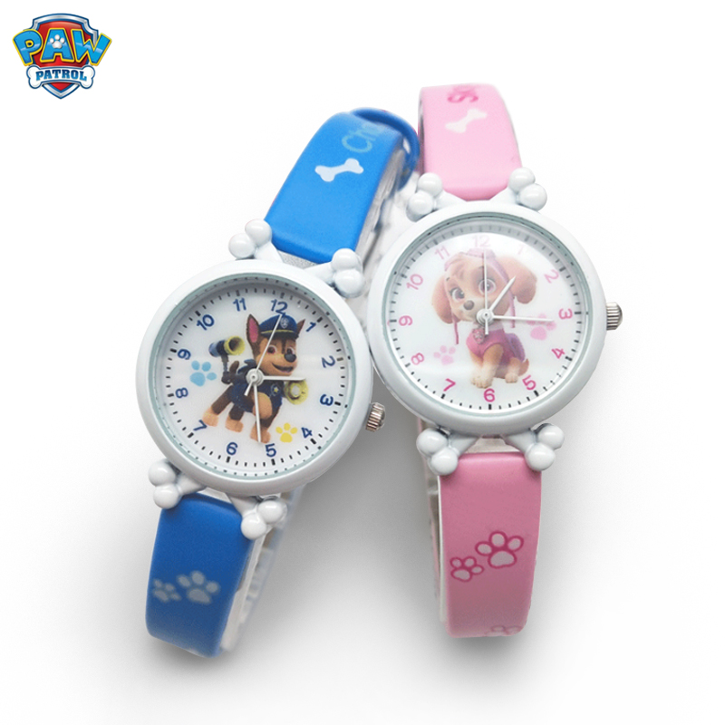 Paw Patrol Cartoon Figure Watch Toys Children's Electronic Waterproof Watch Leather Strap Boys Girl Quartz Watch Kids Gift