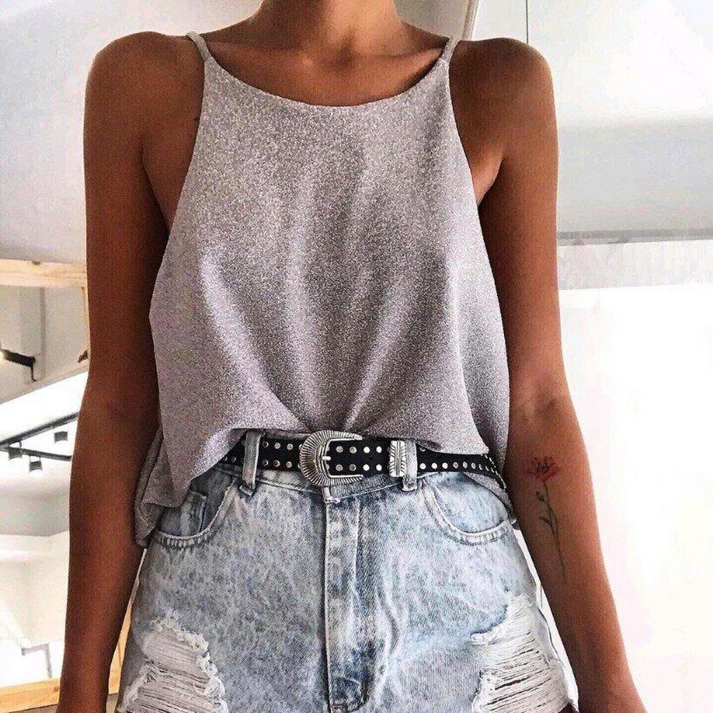 Women Tops Glitter Sleeveless Camisole Tee Shirt 2020 Spring Summer Lady Tops Blouse Slim Fit Tank Tops Fashion Female Blusa D30