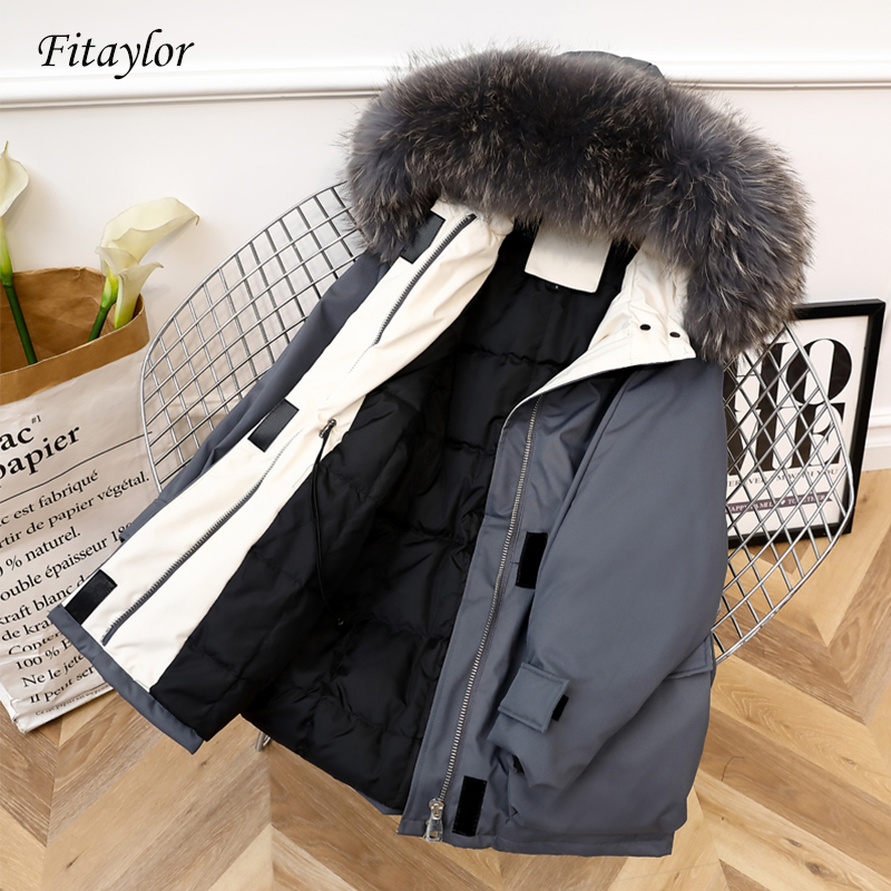 Fitaylor 2019 Large Natural Fox Fur Winter Women 90% White Duck   Down   Jacket Long   Down     Coat   Hooded Outwear Warm Thick Parka