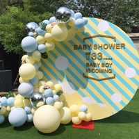Globos escena de fiesta de cumpleaños fotografía fondos de papel de aluminio globos Pastel arco confeti boda decoración de evento Favor Baby Shower Deco