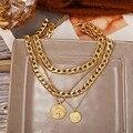 Двухслойное золотое ожерелье в стиле панк для портретов для женщин, кубинское массивное толстое колье с цепочкой, колье с подвеской для мон...