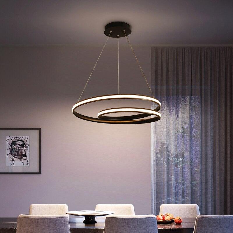 Светодиодный Люстра для ресторана, современный минималистичный круглый светильник с тремя кольцами для гостиной, Оригинальная лампа для