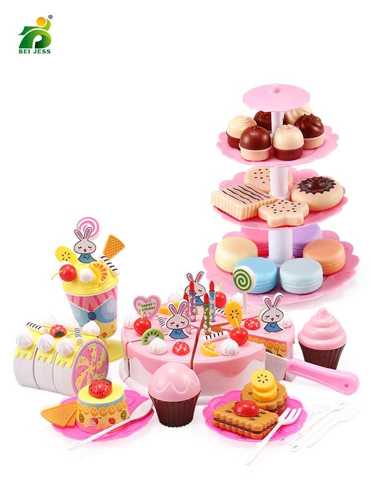 Birthday-Cake-Set Miniature Kitchen-Toys Pretend Play Food-Educational Plastic Girls