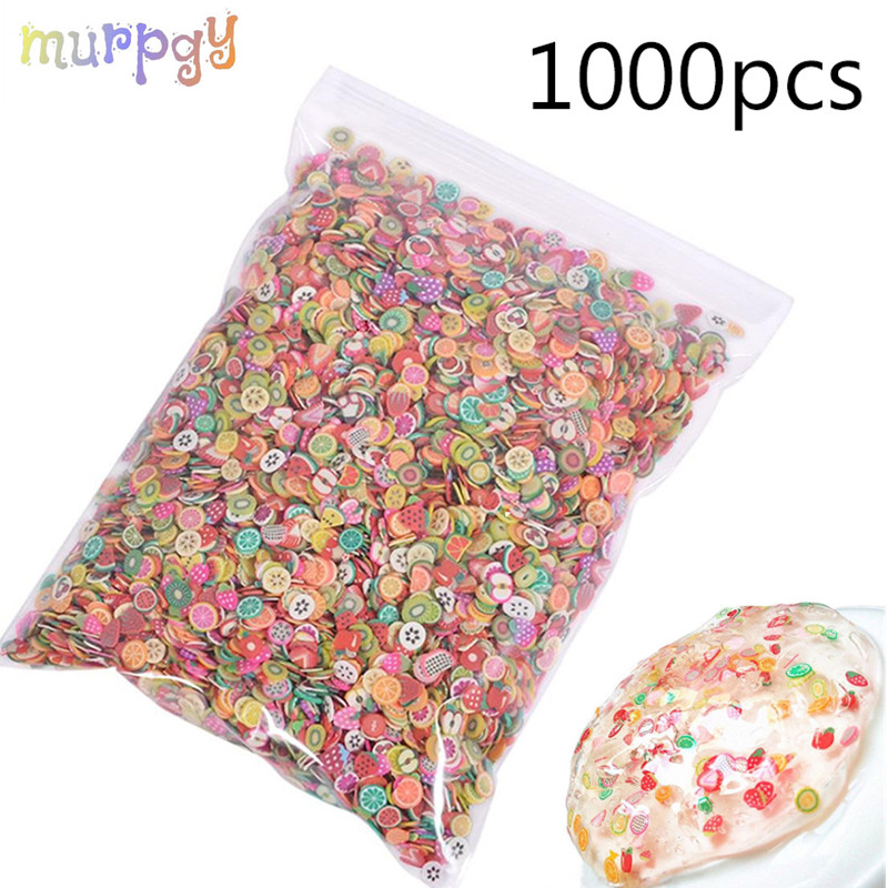 1000pcs Fruit Slices Addition For Fimo Nail Art Slime Fruit Charm Filler For Diy Slime Accessories Lizun Supplies Decoration Toy