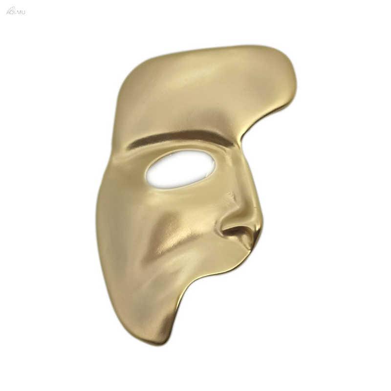 Aomu 2019 na moda broches para as mulheres cor do ouro broche de metal pinos abstrato meia máscara facial broche festa jóias