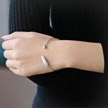 XIYANIKE – Bracelet ouvert en argent Sterling 925 pour homme et femme, bijou Simple fait à la main avec plume, taille ajustable, cadeau