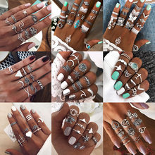 33 Kinds of Joint Ring Retro National Style Exaggerated Rhinestone Plane Star Packaged Combination Ring for Female Wholesale