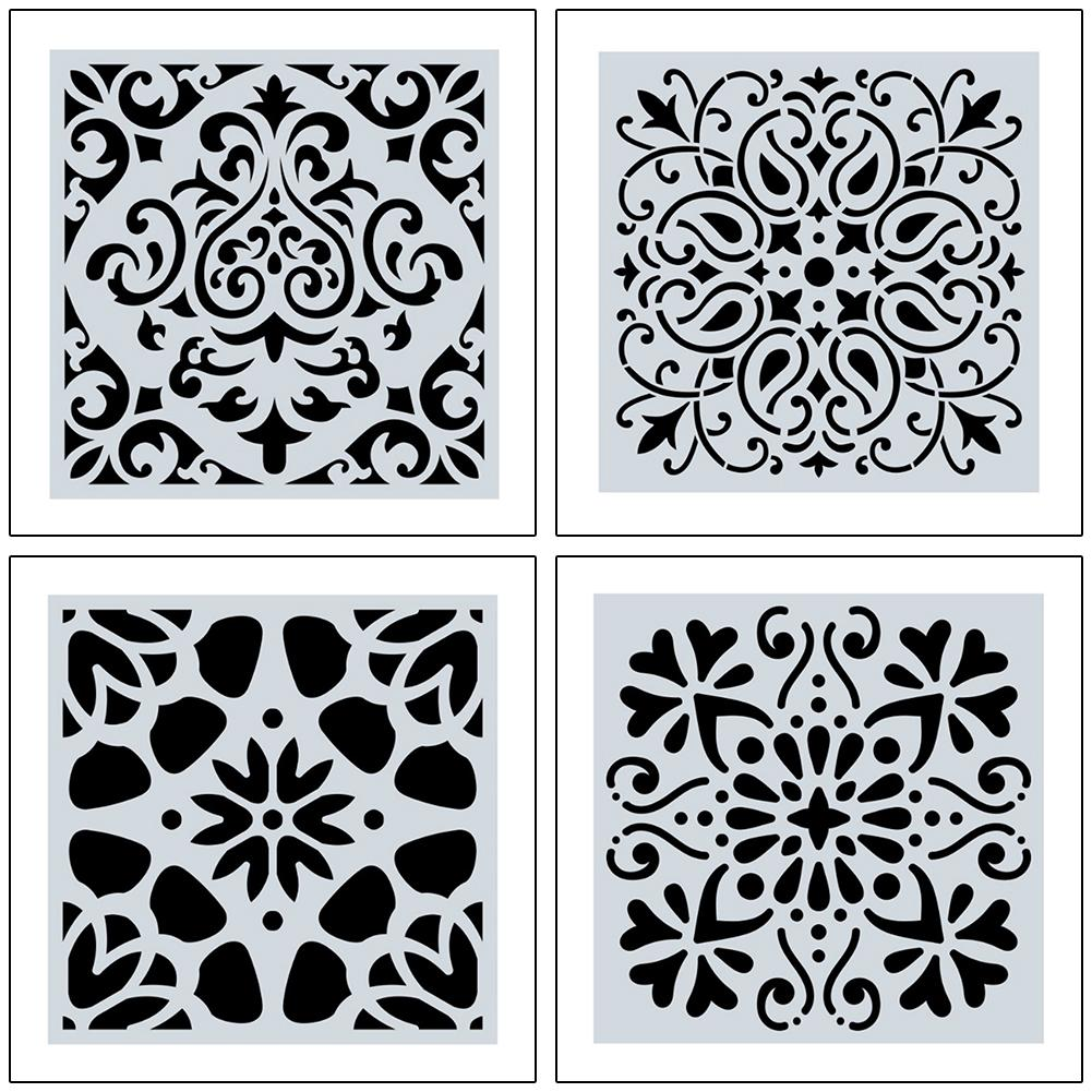 16Pcs Painting Stencil, Mandala Dot Painting Templates Stencils Perfect For DIY Rock Painting Art Projects Wood Glass Fabric Met