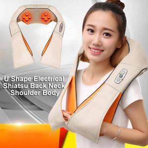 Image 3 - Electrical Heating Shiatsu Back Neck Massager Shoulder Body Massager Infrared Heated Kneading Car/Home Massagem Relax