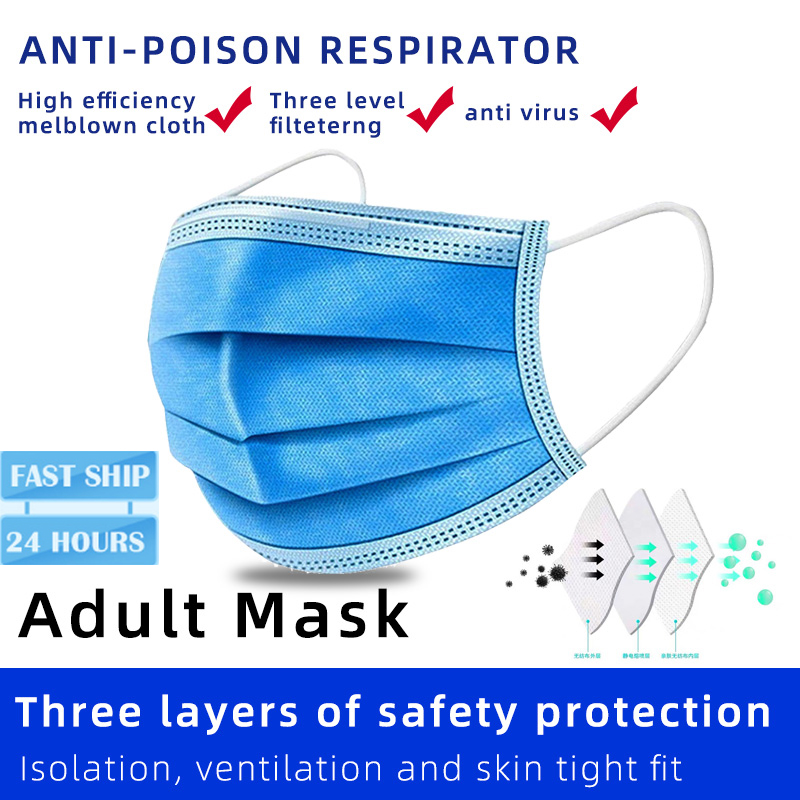 30/50/100pcs Fast Delivery Face Mouth Anti Virus Mask Disposable Protect 3 Layers Filter Dustproof Earloop Non Woven Mouth Masks