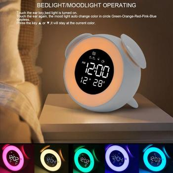 Childrens alarm clock press control bedroom night light multiple sounds sunrise and sunset analog snooze function