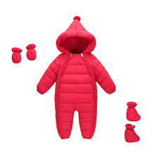 Baby Girls Boys Rompers 2019 Winter Down Cotton Warm Hooded Jumpsuit Snow Suit Hoodies Outerwear Overalls Newborn Clothes CL2104 цены онлайн