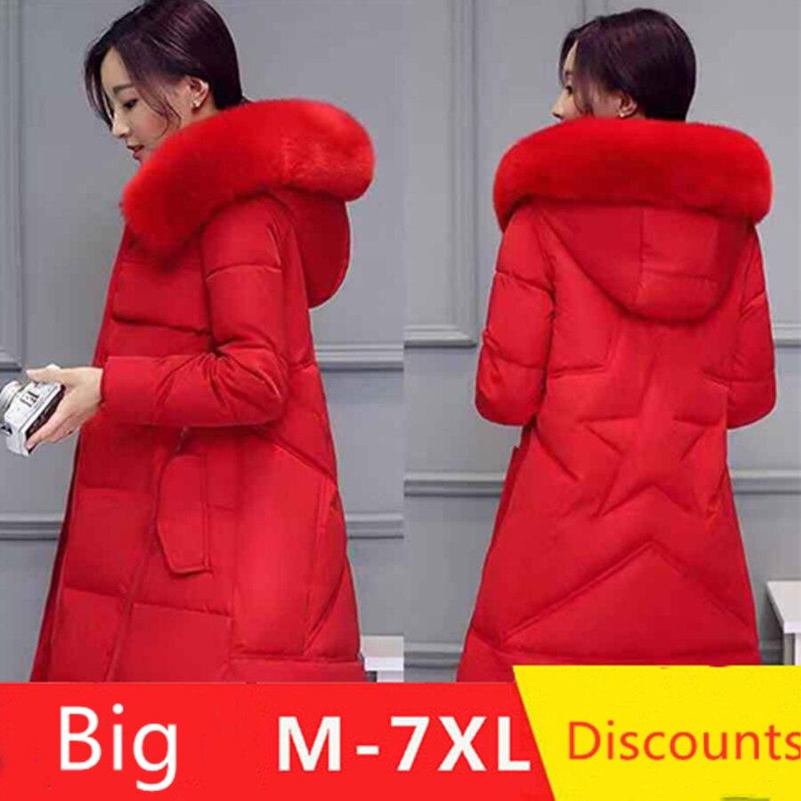 Women   Parkas   Winter Ladies Casual Long Coats Woman Jackets Winter Women Hooded Cotton   Parkas   Warm Coat Outwear 2019 plus 7XL