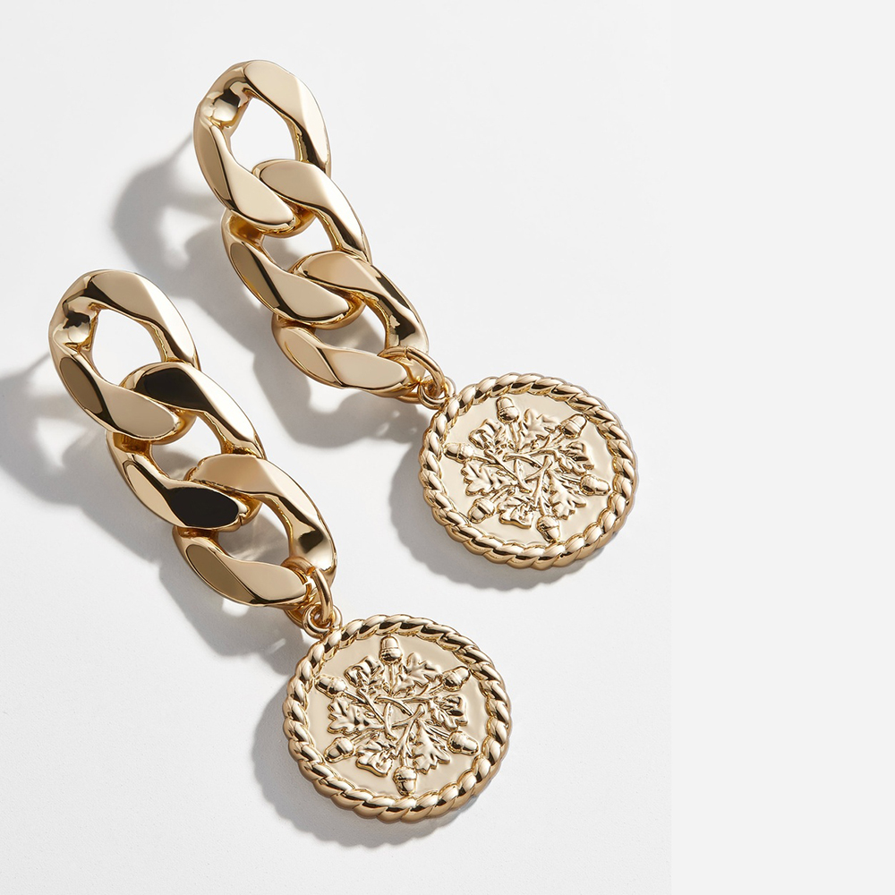 New Fashion Carved Coin Drop Earrings For Women Gold Color Long Chain Statement Round Dangle Earrings Boho Jewelry Brincos