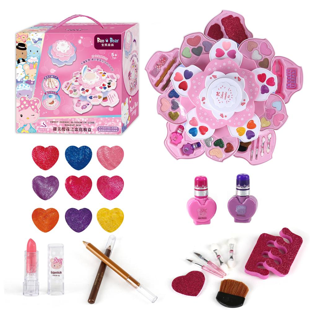 Children Make Up Toys Cosmetic Table Fashion Beauty Big Set Safe Non-toxic Easy To Clean Makeup Kit for Dress Girl Indoor Toys
