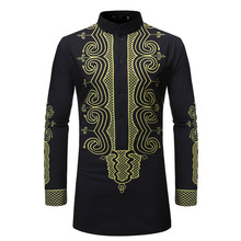 2019 New Autumn Mens national Printed Shirts Male Slim Long Sleeve Party Men Print Business Shirt Tops S-2XL
