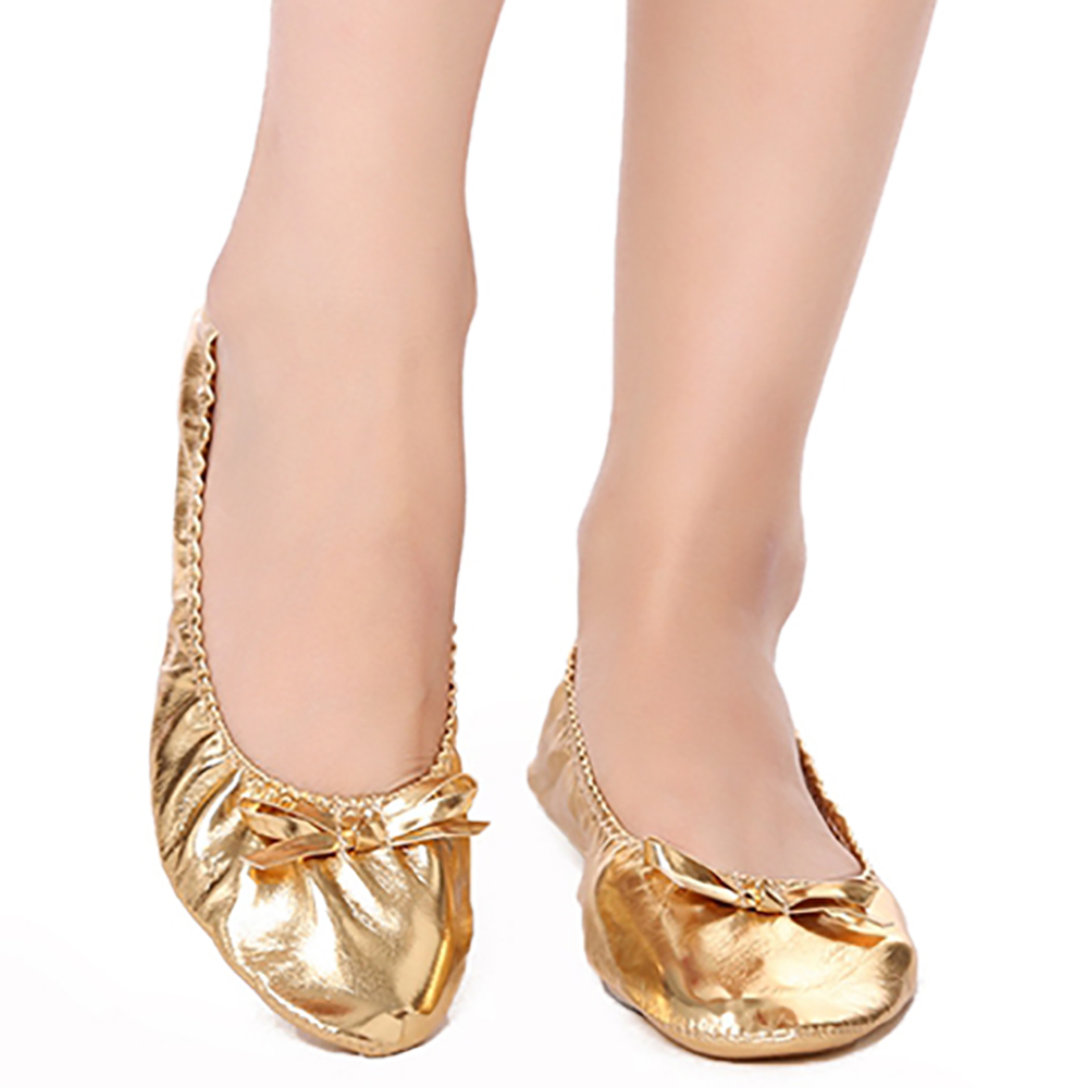 USHINE EU27 41 PU Top Gold Soft Indian Women's Belly Dance Shoes Ballet Leather Belly Ballet Shoes for Children for Girls