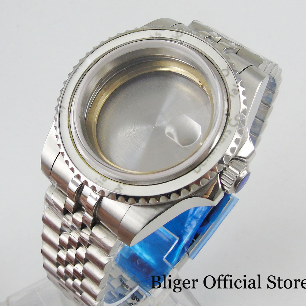 Stainless Steel Silver 40mm Watch Case With Sapphire Glass + Mental Bracelet Fit ETA 2836 MIYOTA Automatic Movement