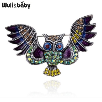 Wuli&baby Rhinestone Flying Owl Brooches For Women Metal Enamel Owl Bird Casual Office Brooch Pins Gifts цена 2017