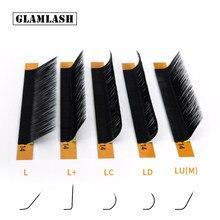 Faux-cils en vison de couleur noir, extensions avec courbe, L/L +/LC/LD/LU(M)/N, accessoires de maquillage, 16 rangées, 7 à 15 mm,