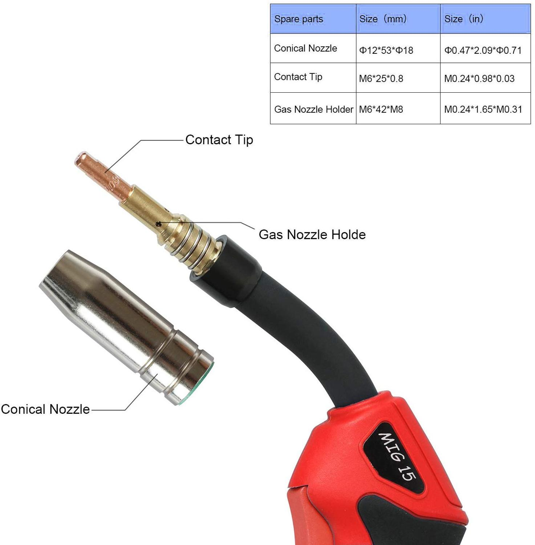 Tools : MIG Welding Torch MIG Gun 150A Binzel Type CO2 MB15 MIG Welder with Euro Connector 10ft 3m For MIG MAG Inverter Welding Machine